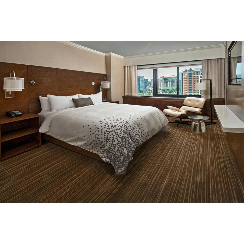 China Custom Made Hotel Furniture Bedroom Set Wooden Double Bed