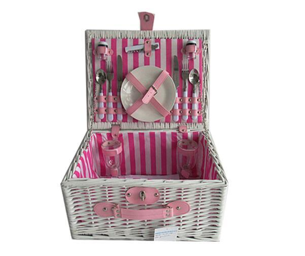China 2 Person Newest Pink Wicker Picnic Basket Hamper