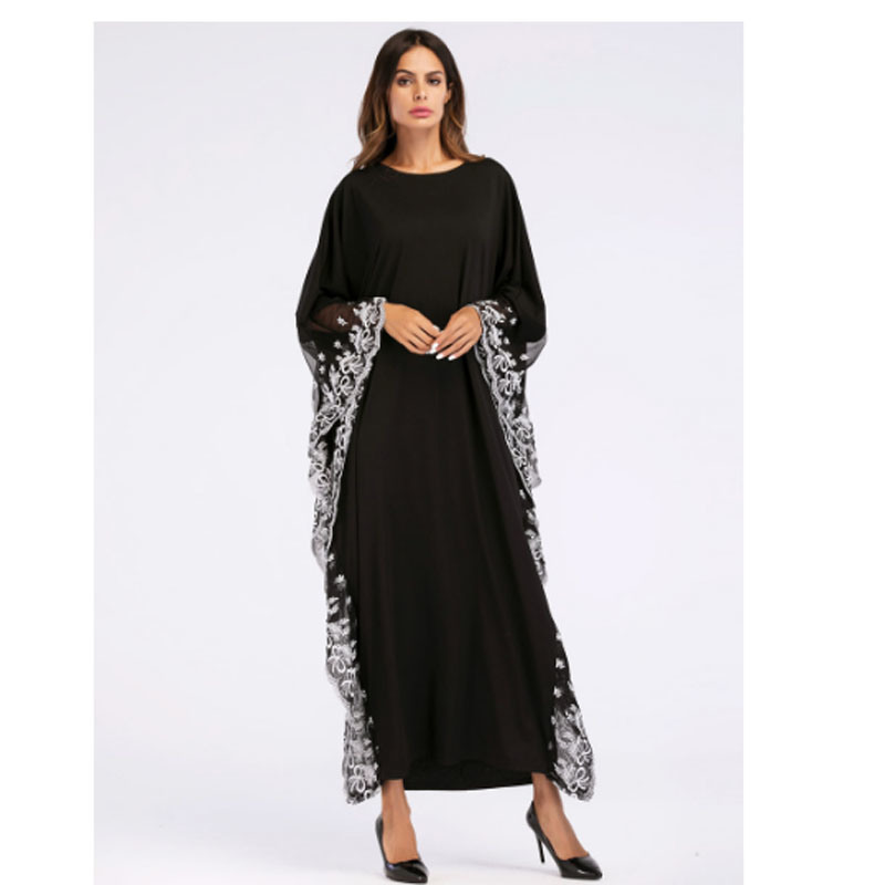 Hot Item Black Big Sleeve Chiffon Anarkali Frocks Gowns White Lace Edge Decoration New Model Abaya In Dubai Wholesale Indian Clothing