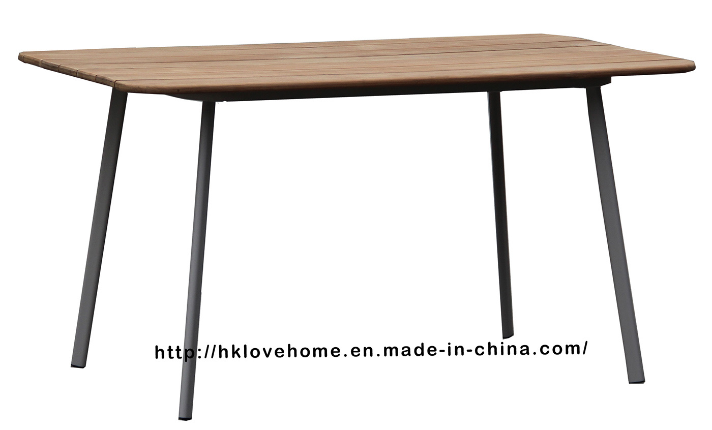 China Modern Restaurant Metal Steel Wooden Coffee Dining Table