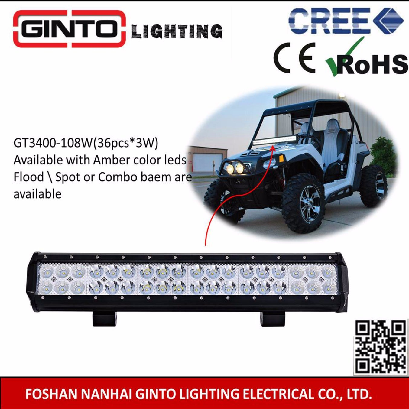 China Cree Driving Truck Car Led Light Bar For Suv Gt3400 108w 108 Wiring Harness Atv