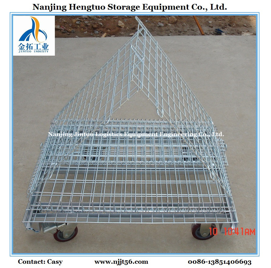 China Stackable Warehouse Storage Metal Wire Mesh Roll Cage with ...