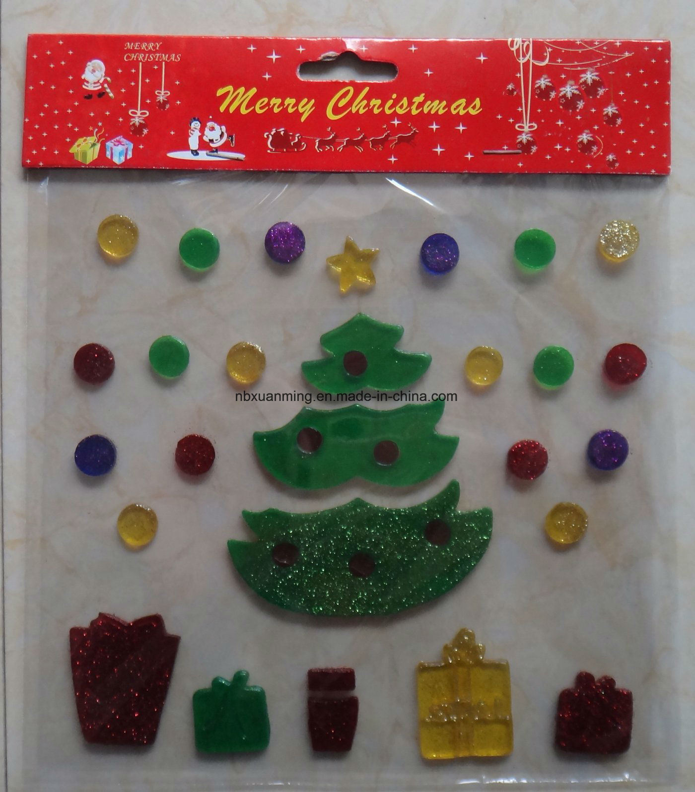 Christmas glitter window jelly decoration gel stickers