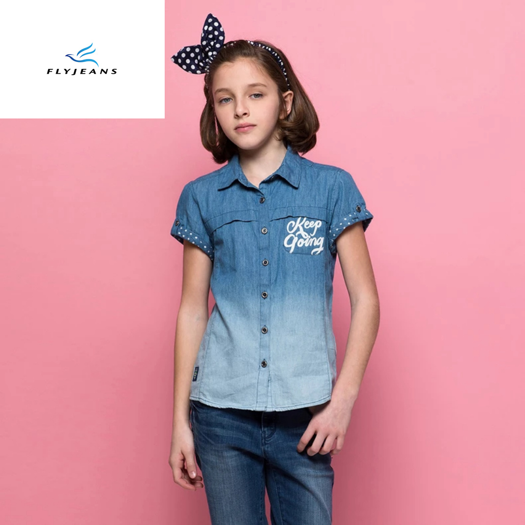 China New Style Summer Slim Thin Girls Short Sleeve Denim Shirt By