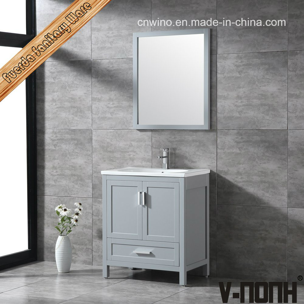 China Light Grey Solid Wood Single Sink
