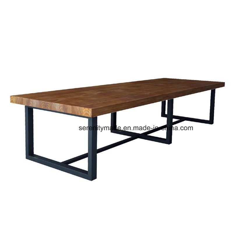 Hot Item Industrial Style Cast Iron Legs Long Wood Top Dining Table For Sale