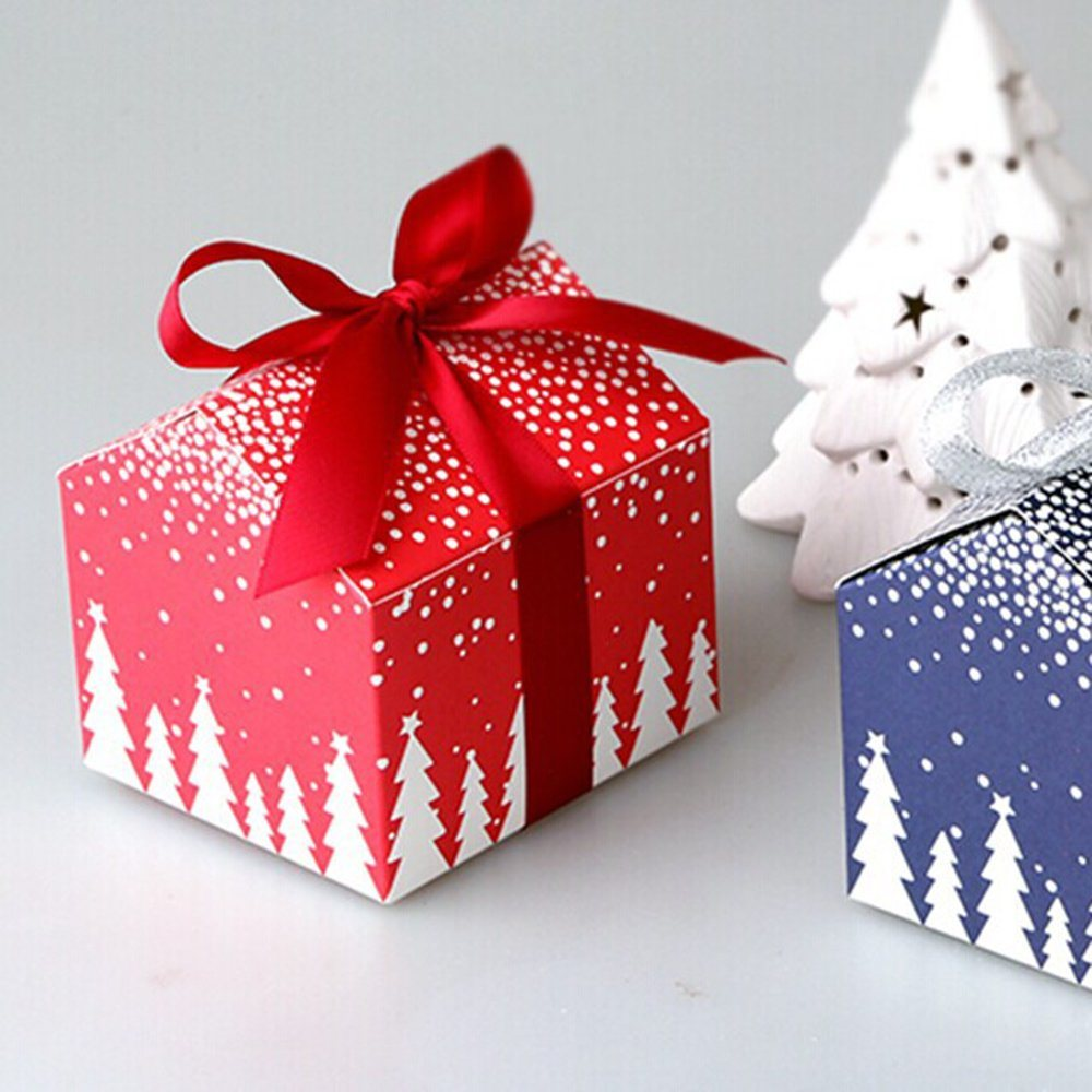 paperboard decorative christmas gift box with handle and bow