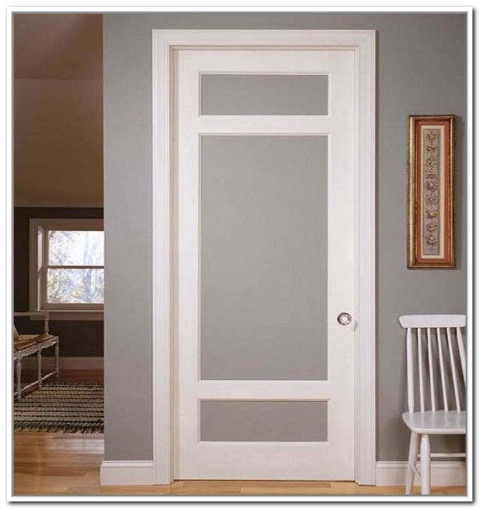 China White Color Interior Room French Door With Frosted Glass