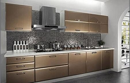 Gloss Uv Door Finish Kitchen Cabinet, Mocha Color Kitchen Cabinets