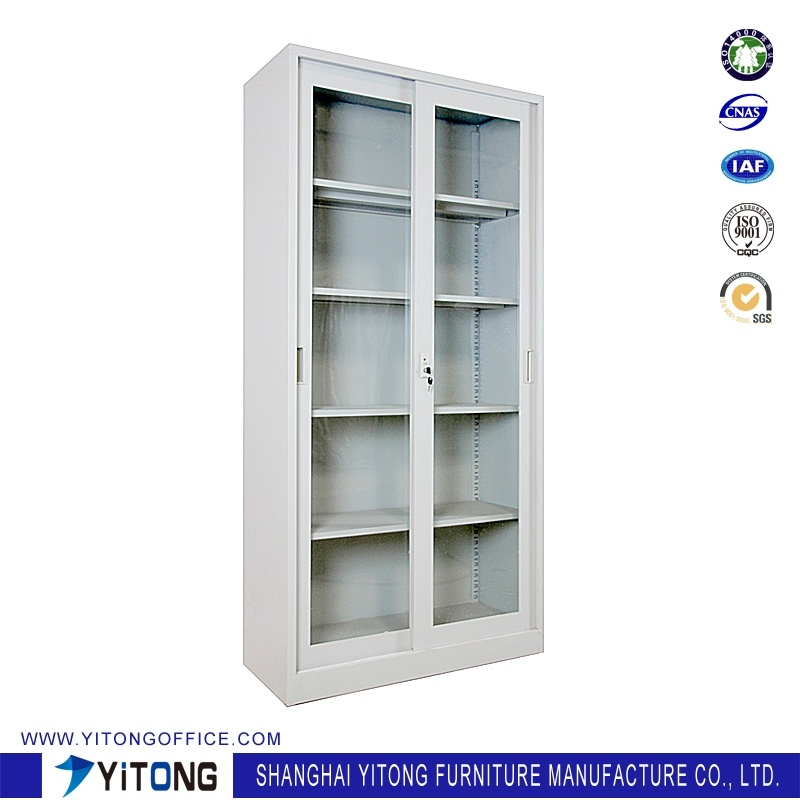 2-Door Glass Door Movable Door Metal Storage Cabinet / Office Use Steel File Cabinet