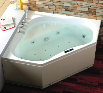 CE Electronic Control Two Persons Corner Jacuzzi Bathtub