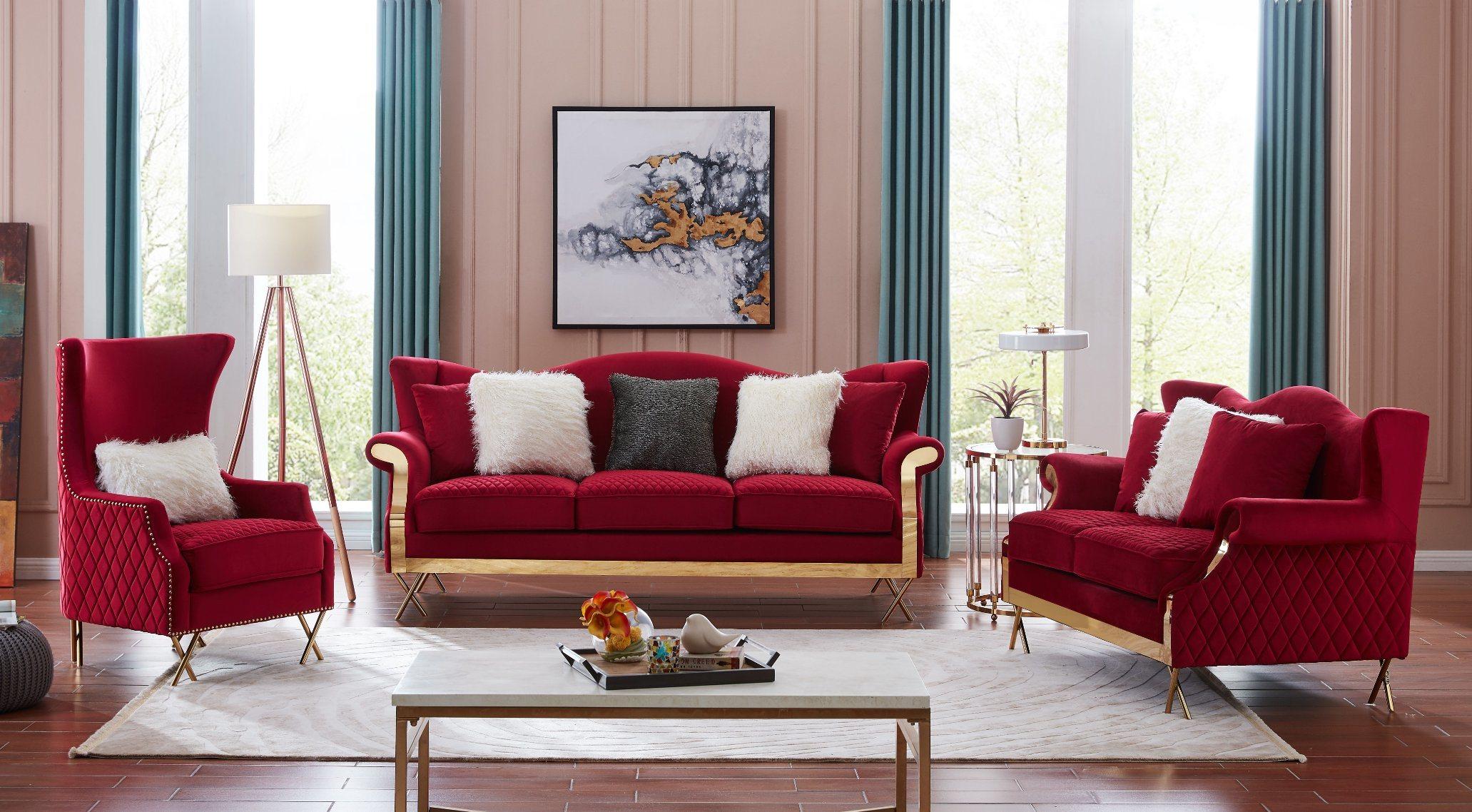 China American Light Luxury Stainless Steel Modern Red Velvet Sofa China Hotel Furniture Home Sofa