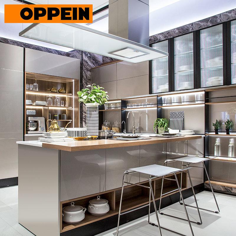 China Oppein Modern European Style High Gloss Grey Kitchen Cabinets China Modern Kitchen European Style Kitchen Cabinet