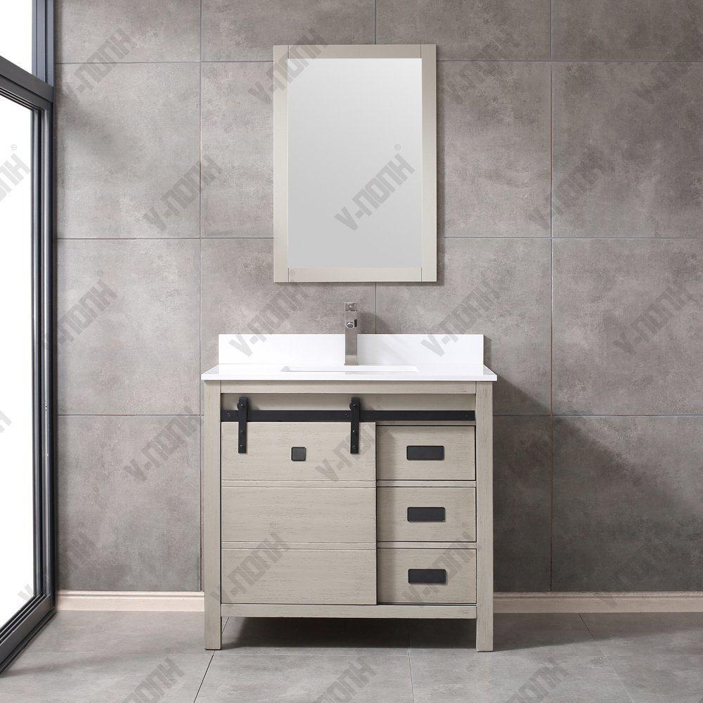 China New Classic Beige Grey Solid Wood Single Barn Door Bathroom Vanity China White Toilet Cabinet Cheap Bathroom Cabinets