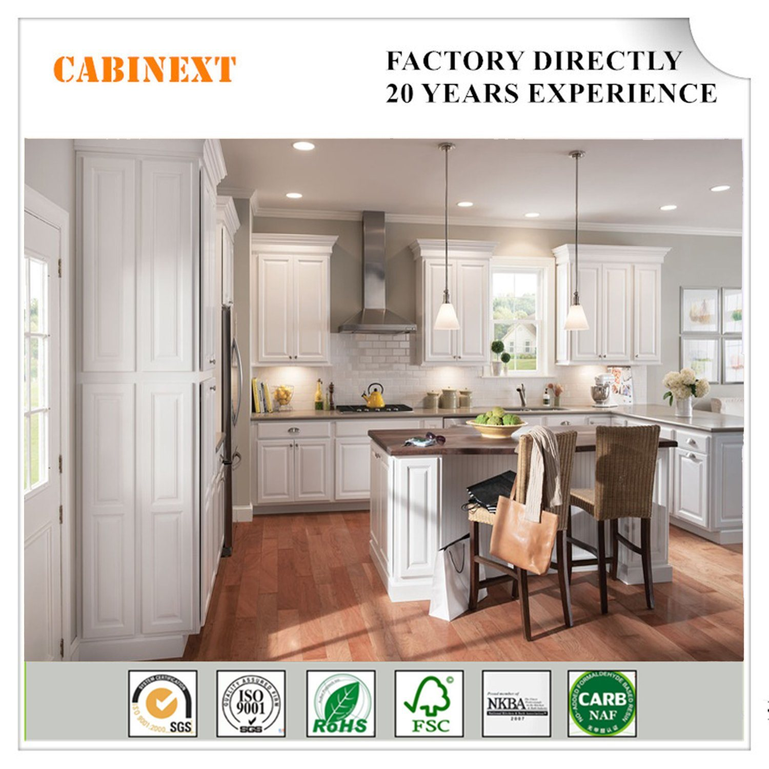 Home Used Solid Wood Kitchen Cabinet Modern White Pantry Cabinets