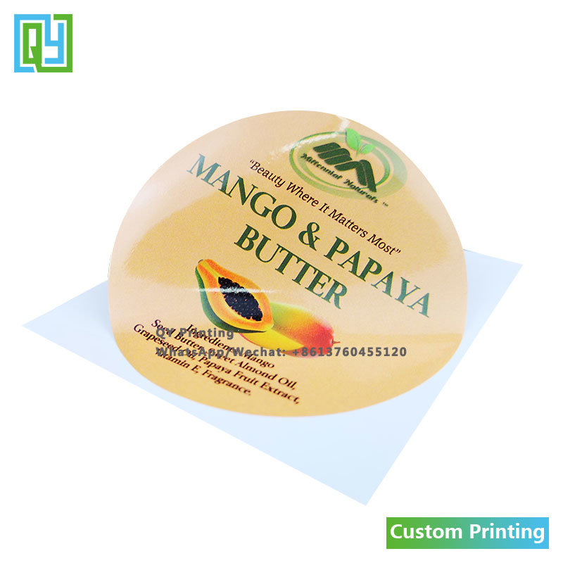 [Hot Item] Customized Round Butter Frozen Food PVC Adhesive Label Printed