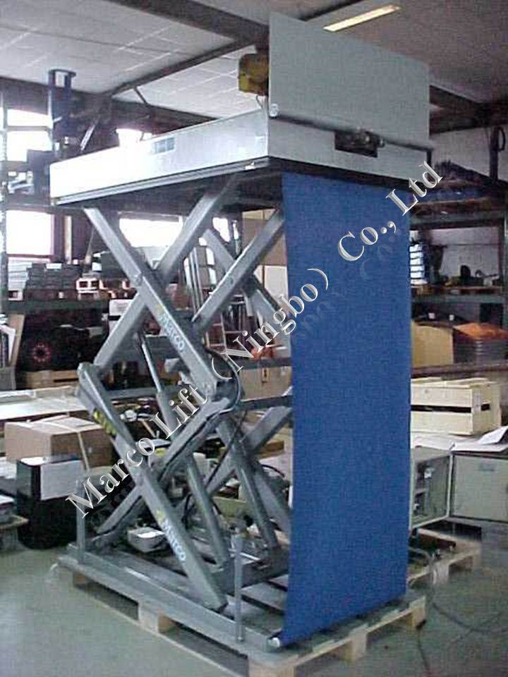 Marco High Scissor Lift Table with Loading Flap and Curtain