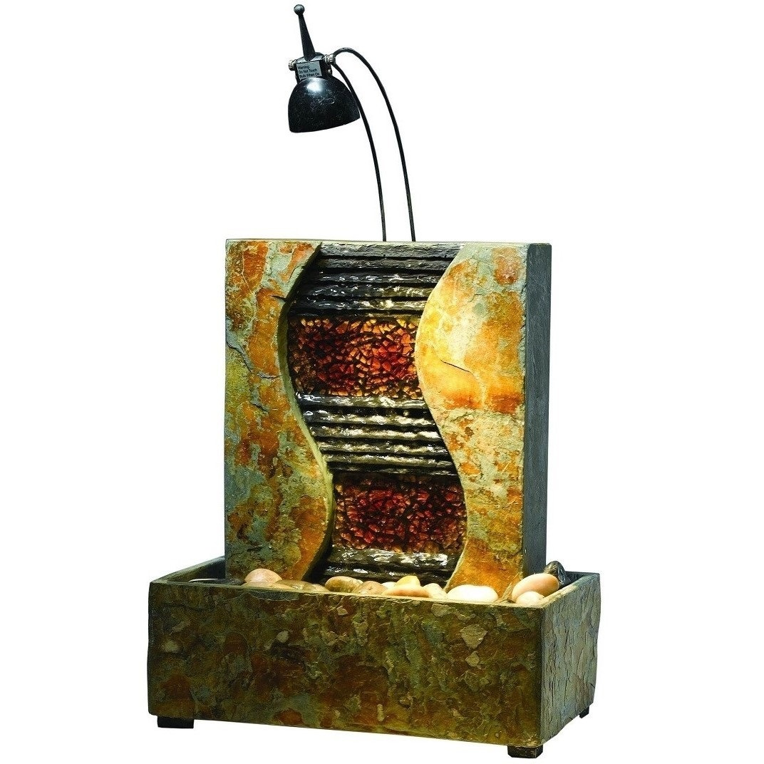Natural Stone & Glass Waterfall Table Fountain