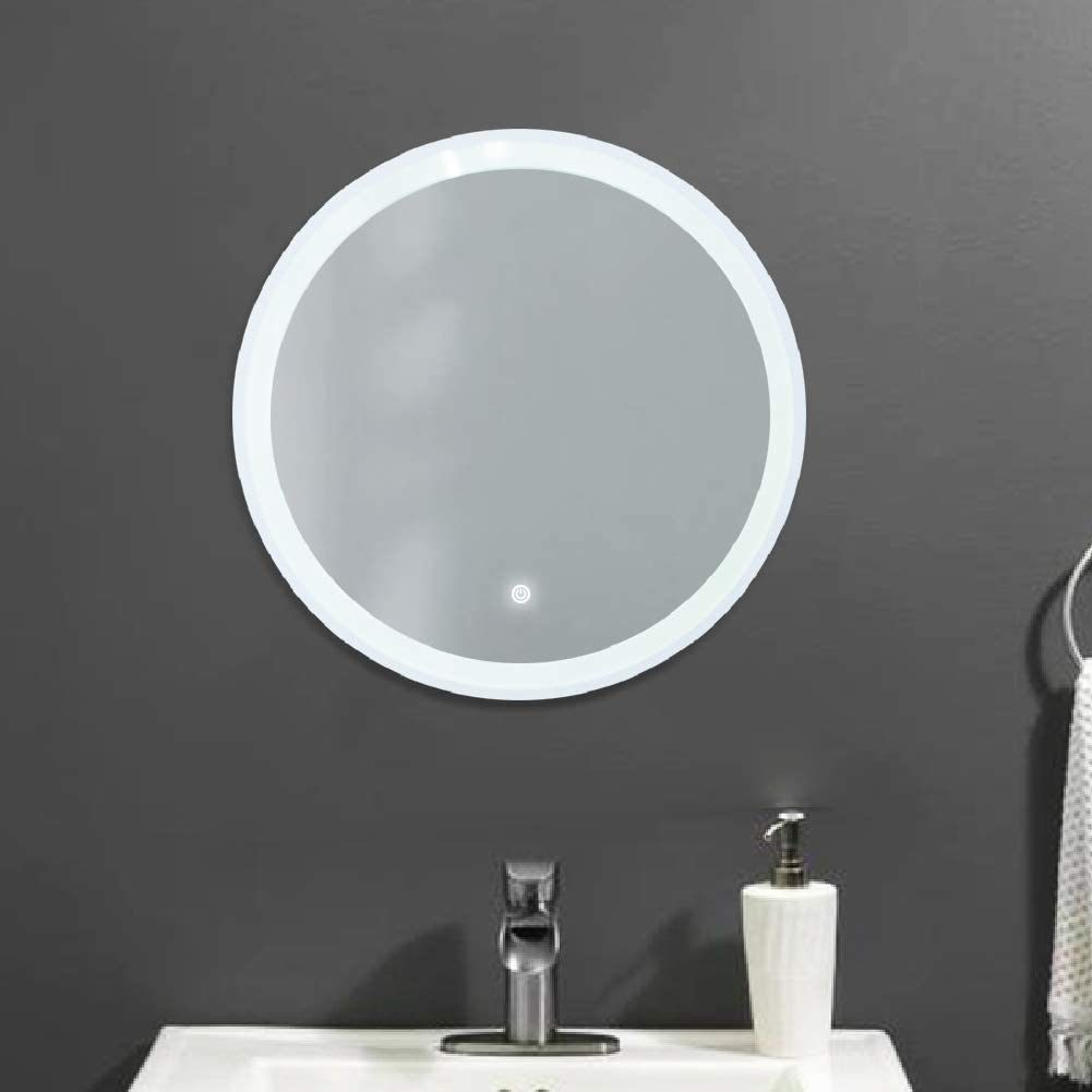 China 26 Led Lighted Round Mirror Wall Mount Circle Illuminated Bathroom Vanity Mirror With Anti Fog Demister Pad Built In Touch Switch China Smart Mirror Bathroom Mirror