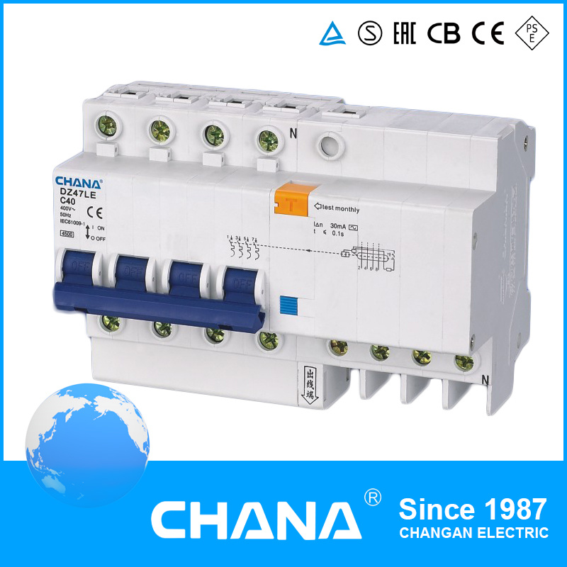 China Dz47le-63 4p Electronic Type RCBO (RCCB with Overcurrent ...