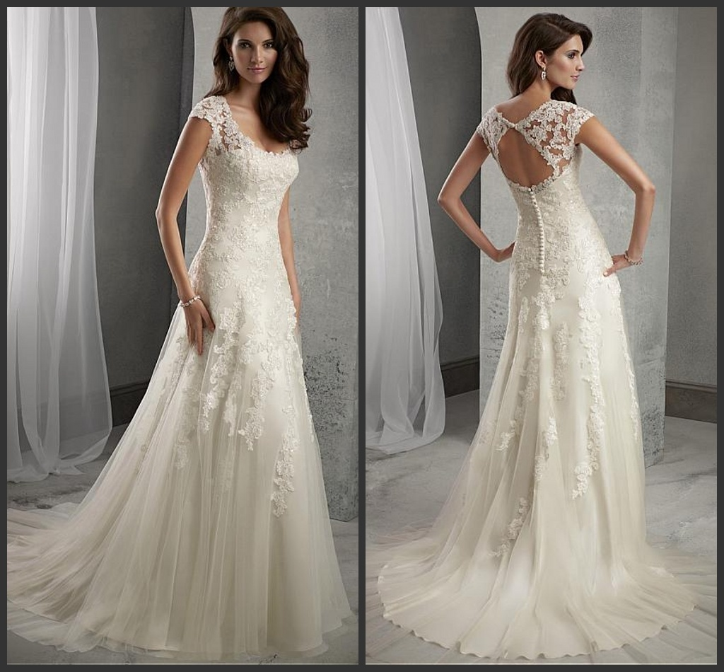 Hot Item Beach Bridal Dresses Lace Tulle Cap Sleeves Beach Boho Wedding Gowns A43