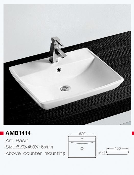 China Amb1414 White Above Counter Ceramic Bathroom Square Hand