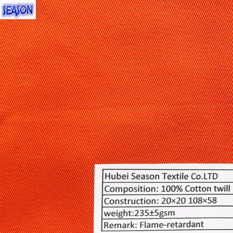 Cotton 20*20 108*58 235GSM Flame Retardant Dyed Twill Cotton Woven Fabric for Safety Clothes