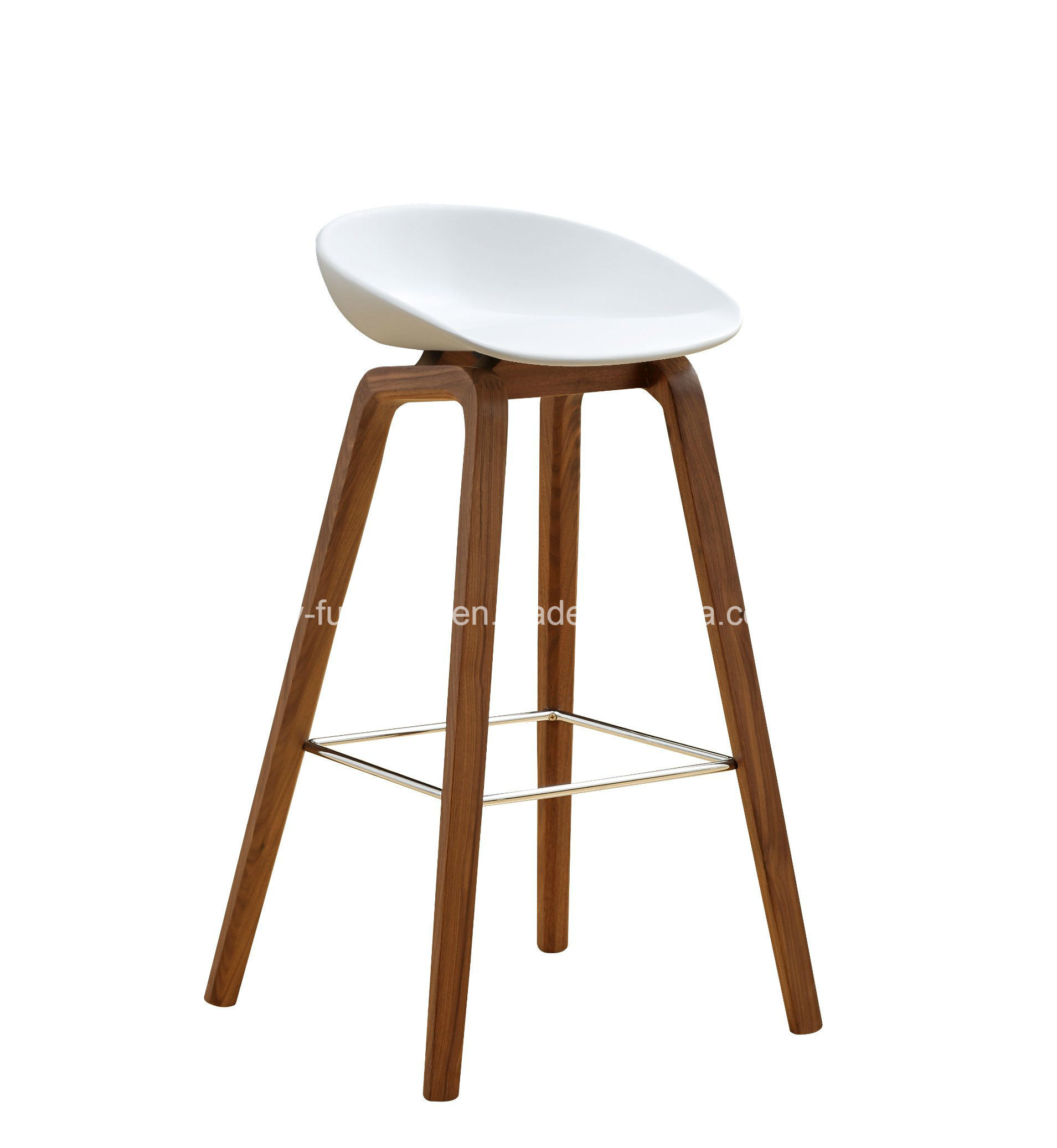 [Hot Item] Leisure Plastic Seat Top Wooden Leg Bar Stool Living Room`