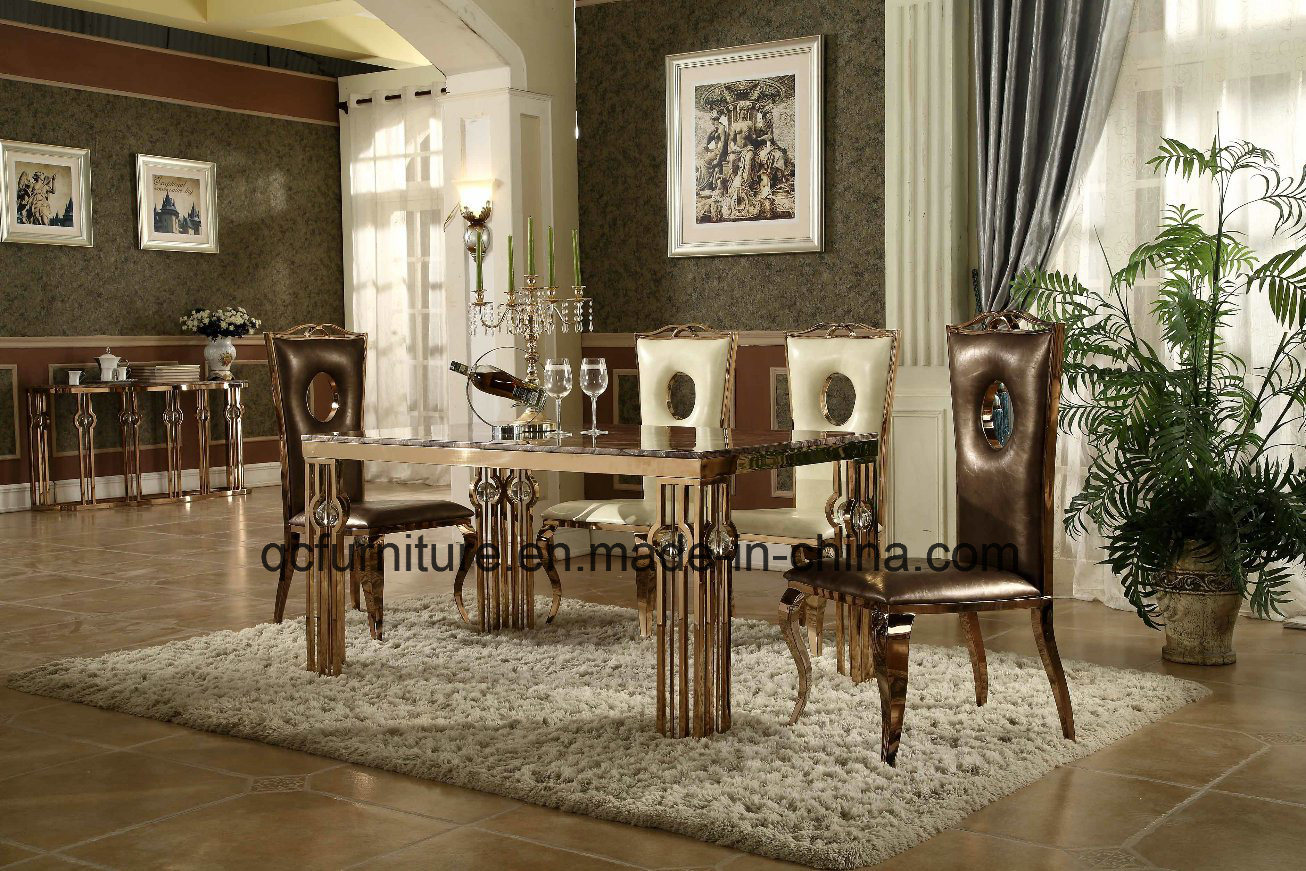China Luxury Rose Gold Stainless Steel Dining Table Design Marble
