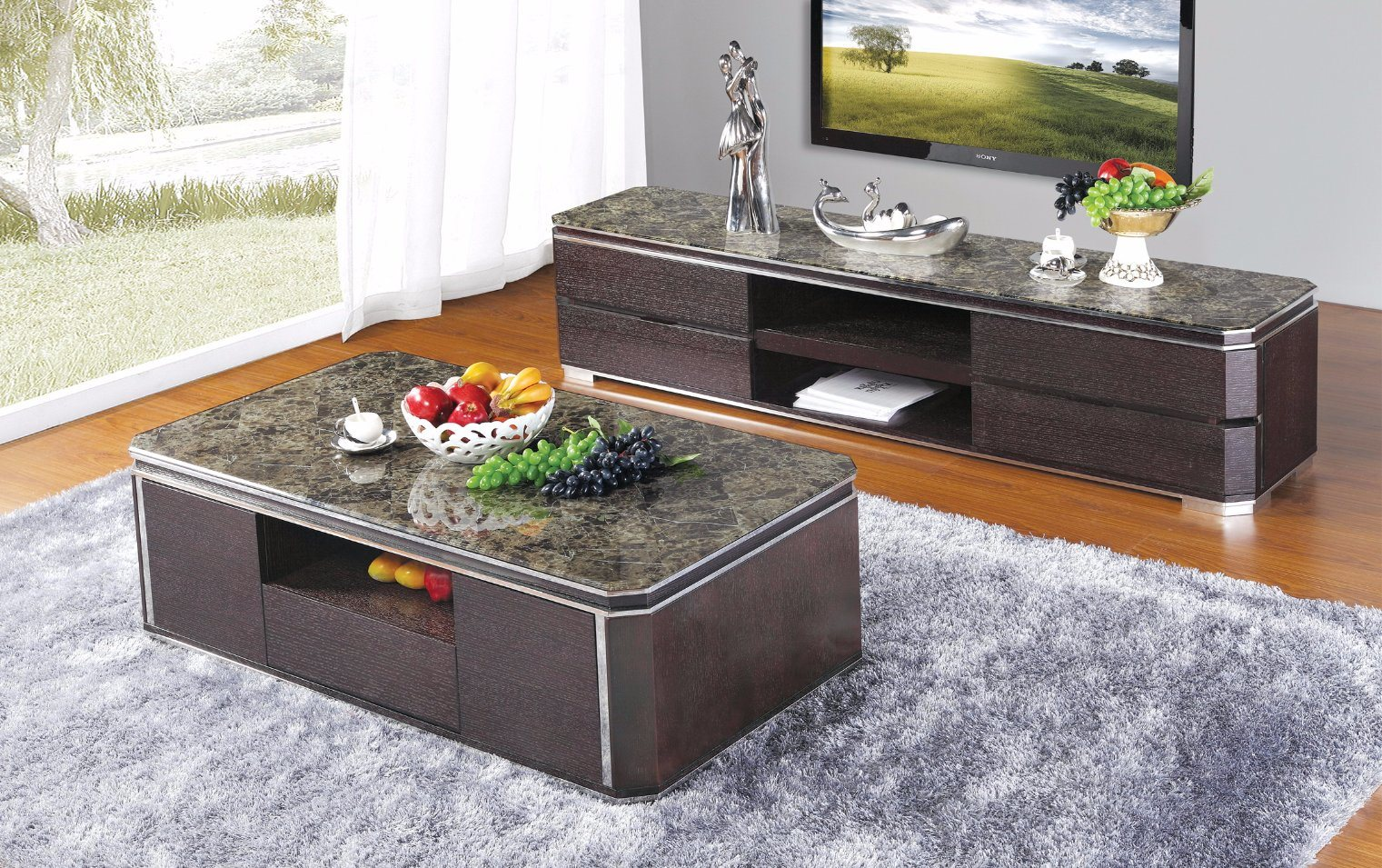 China Marron Lattice Top Coffee Table (SBL CJ 198)   China Coffee Table,  Functinal Coffee Table