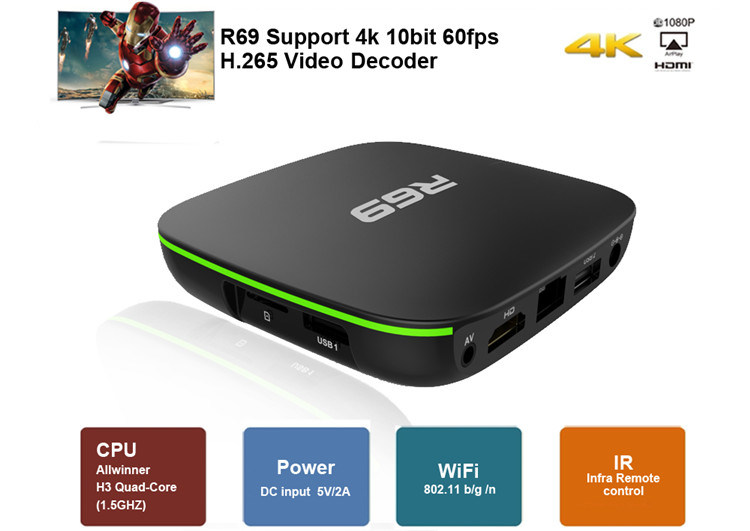 China Root Access Android Smart Stream TV Box R69 Allwinner