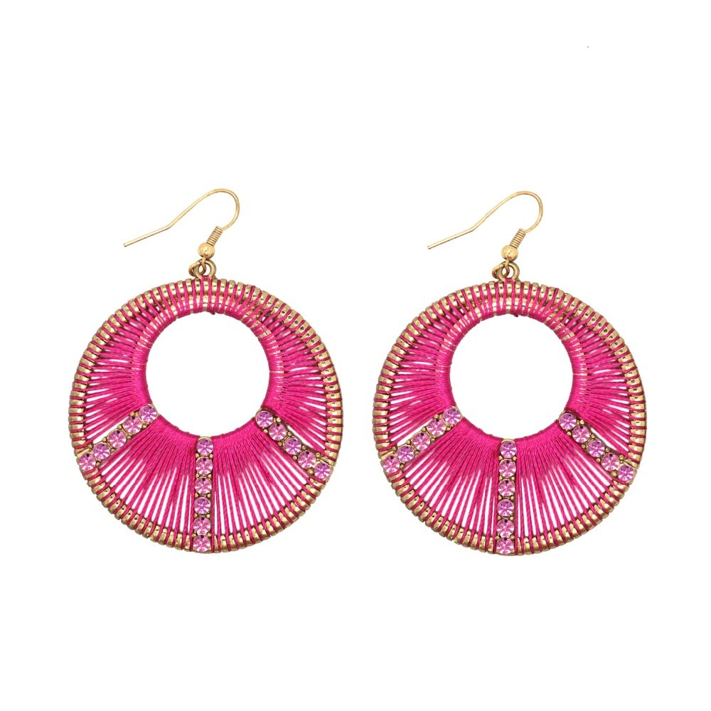 China 2 Colors Handcraft Wire Weave Rhinestone Round Drop Earrings ...