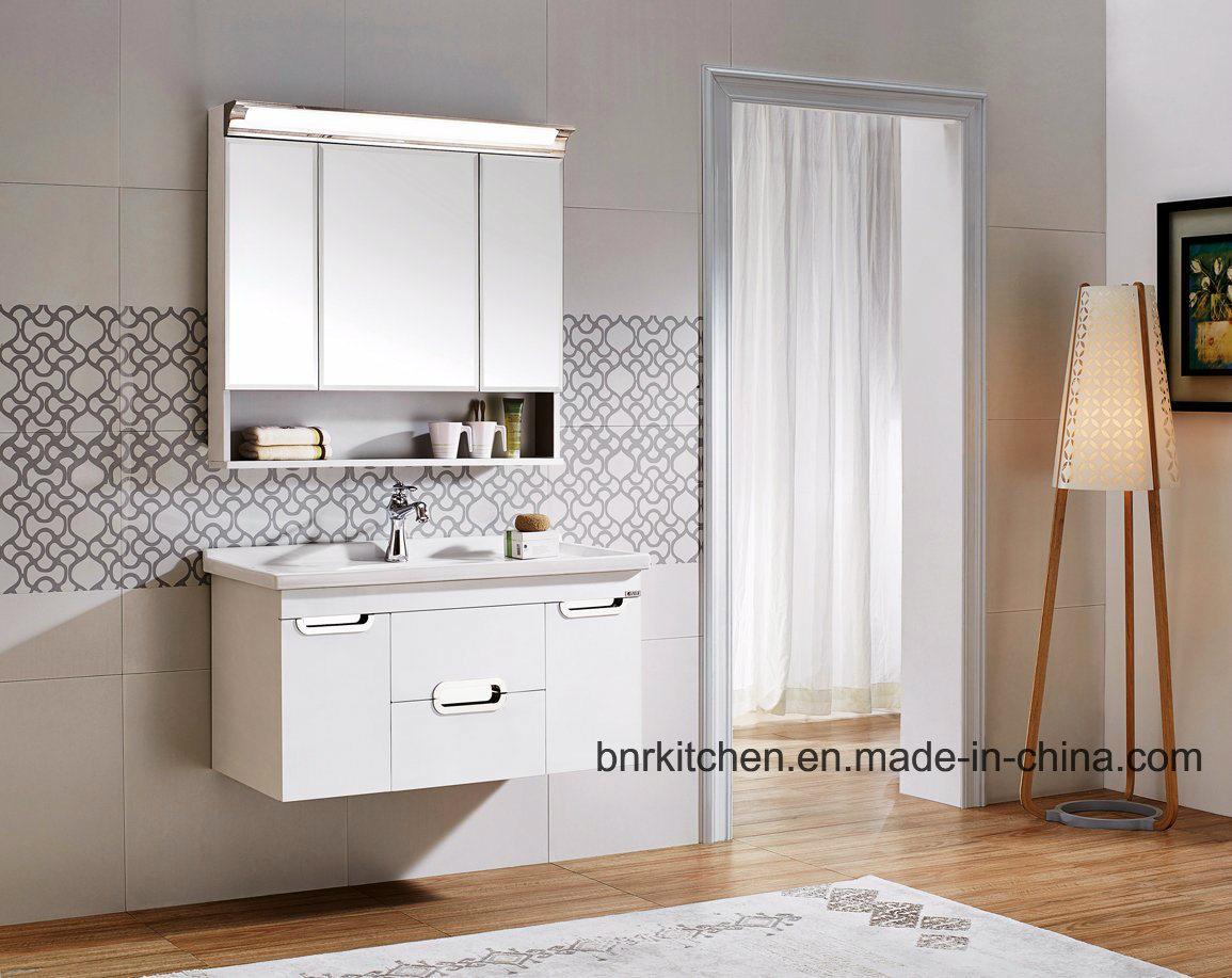 China 3 Door Mirror Cabinet LED Light Luxuri Bathroom Dressing ...
