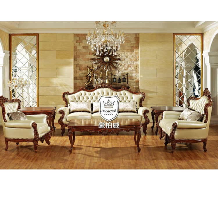 China Real Leather Royal Living Room Furniture Sofa Set 3