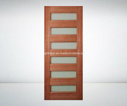 China Glass Insert Solid Cherry Wood Interior Front Door Design