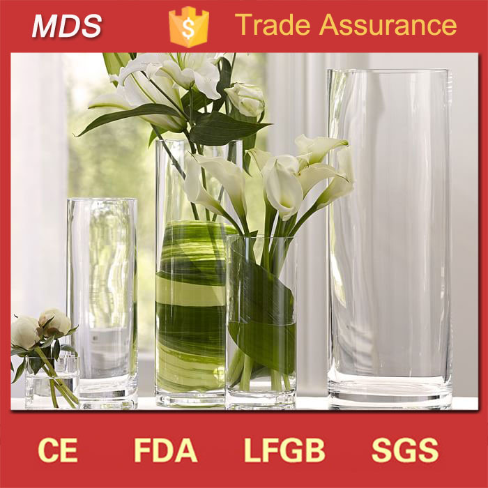 China Clear Cylinder Wholesale Cheap Tall Decoration Flower Glass