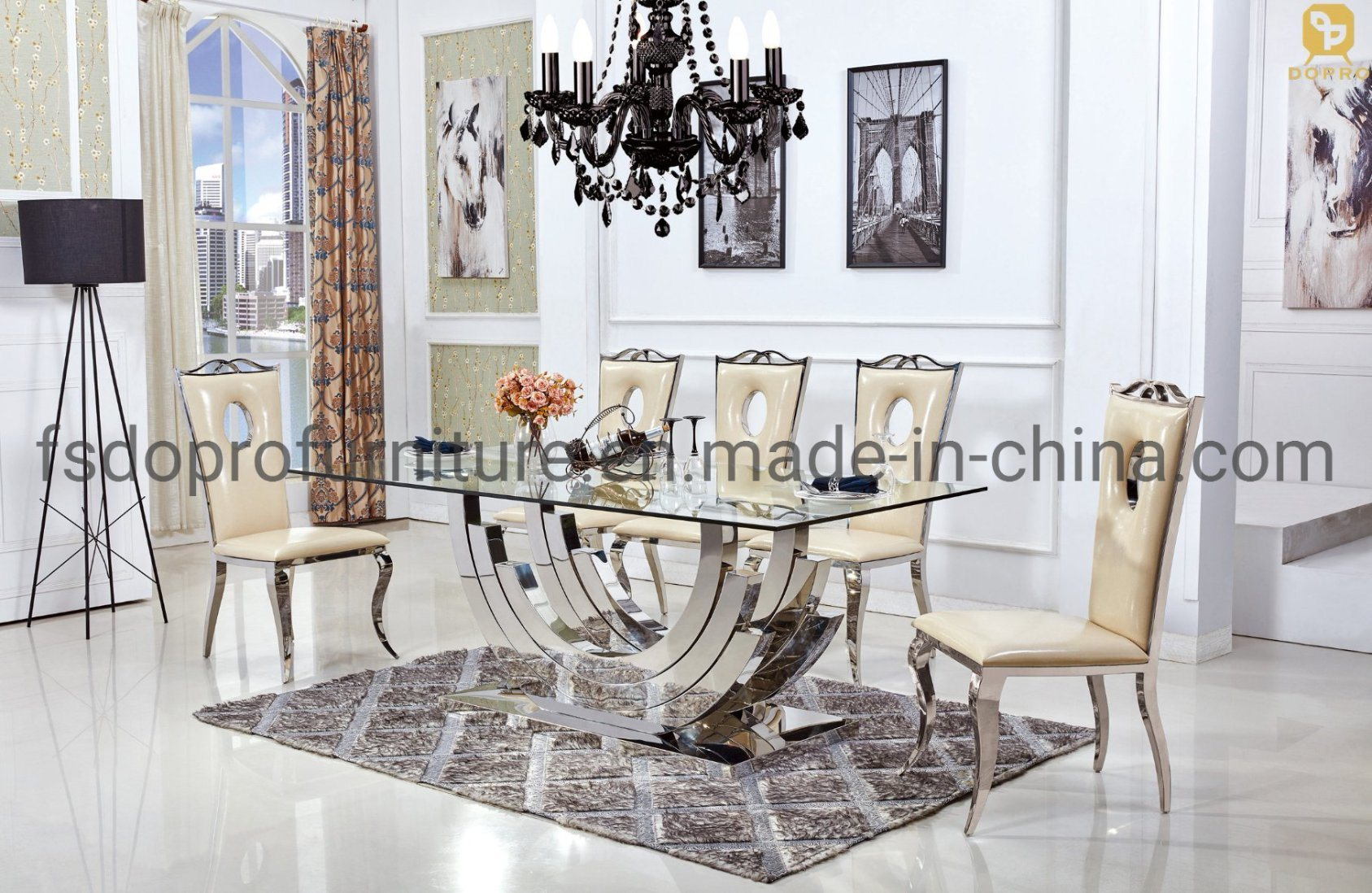 China Glass Top Dining Table Set 8 Seater Living Room Furniture Hotel Use D26 China Dining Table Glass Table