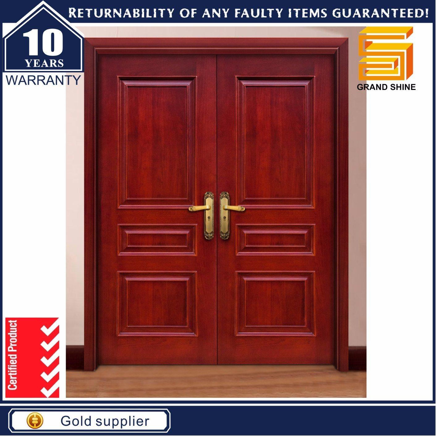 Hot Item Solid Wooden Double Panel Entrance Main Door Design