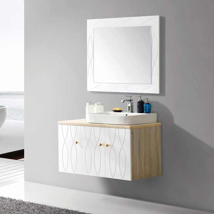 China Plywood Bathroom Cabinet With Marble Top And Ceramic Basin