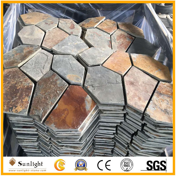 Natural Landscape Black/Rusty Slate Flagstone for Paving pictures & photos