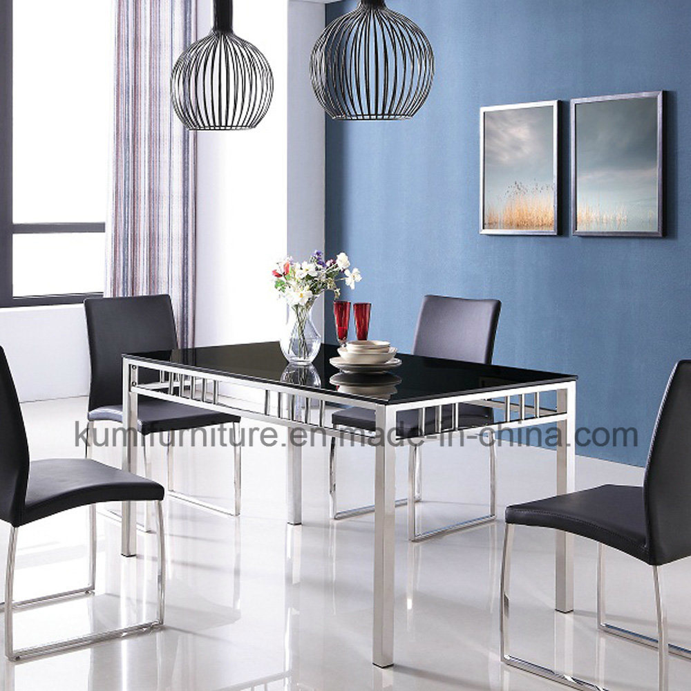 China Hotel Furniture Stainless Steel Dining Table with Glass Top ...