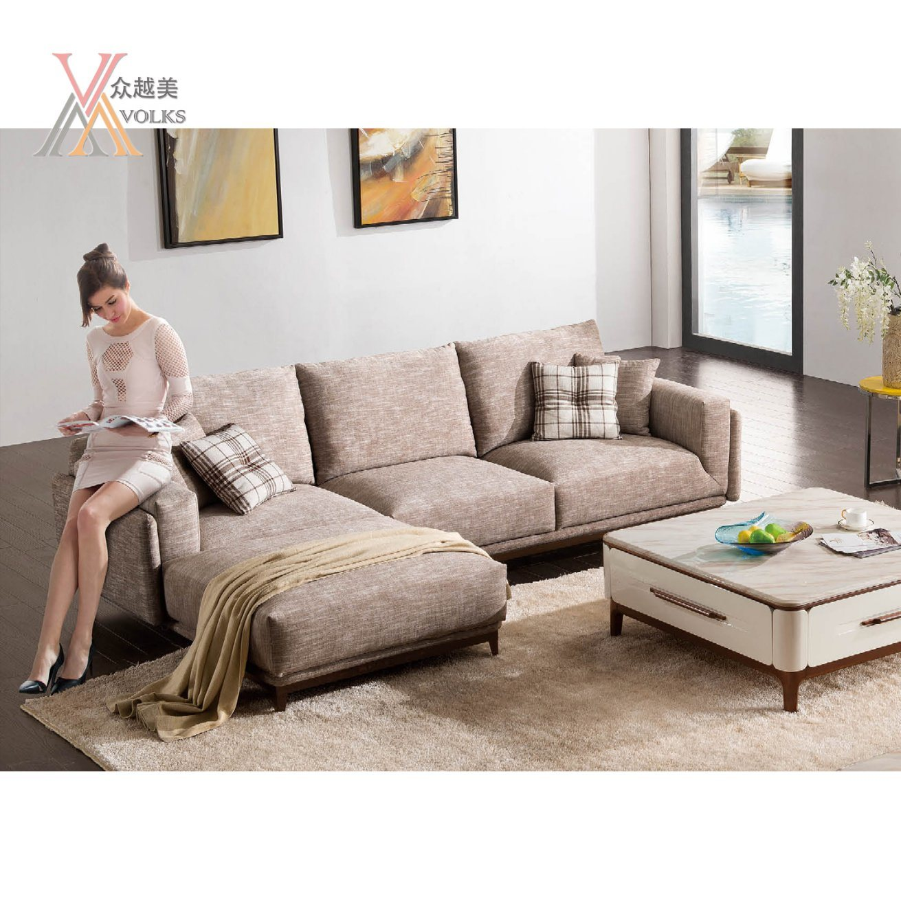 Checked Sofa China Comfortable Fabric Sofa Set With