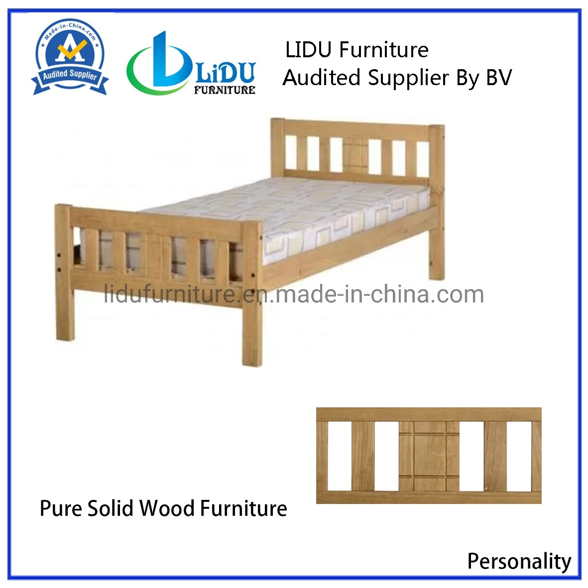 [Hot Item] Hot Sale Solid Wood Bed Oak Bed Bedroom Furniture Wooden Bed  Double Comfortable Strong Bed with Cheap Price
