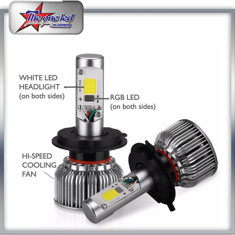 China Wholesale V18 Turbo H4 LED Headlight Bulb RGB Color Demon Eyes ...