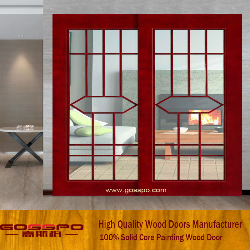 China Cheap Price Interior Wooden Glass Sliding Door Gsp3 015