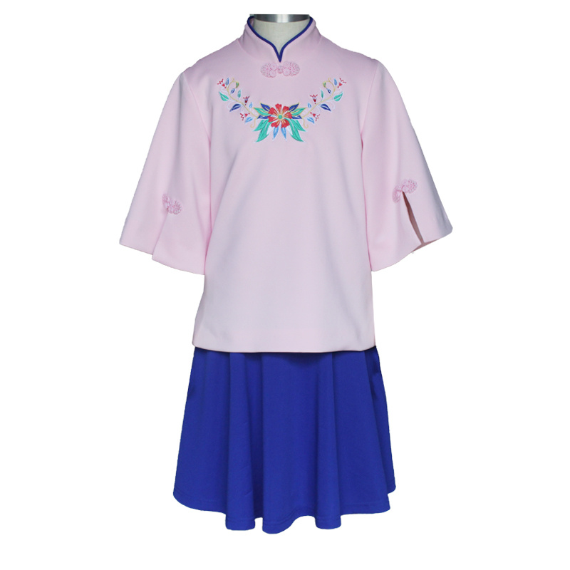 Girls Chinese Style Straight Elegant Dresses Traditional School Uniform Chinese Garments Kid Dress - China Primary School Uniforms Dress, School Uniform