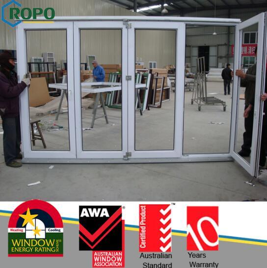 China White Color and Heat Insulating Vinyl Folding Door with Glass ...