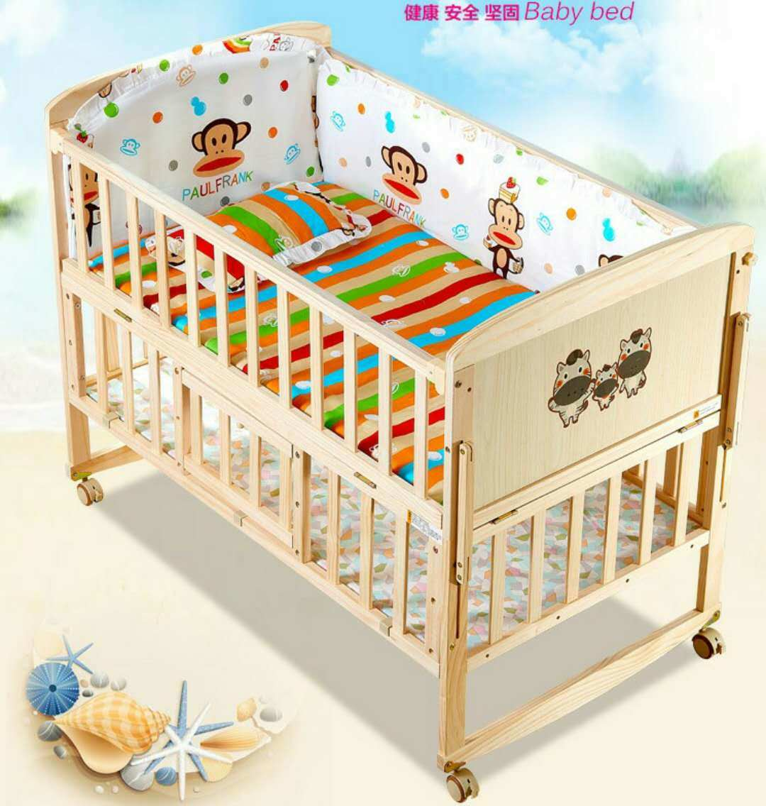 China Wood Baby Bed Baby Cribs Baby Cot With Popular China Baby