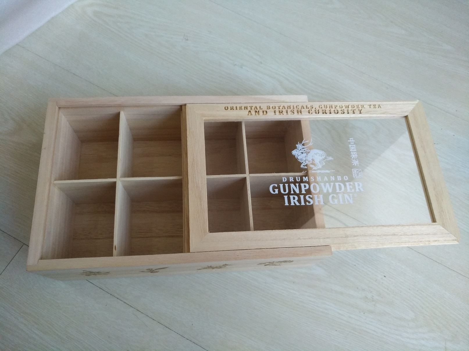 Hot Item Low Price Natural Color Clear Window Presentation Wooden Boxes With Dividers