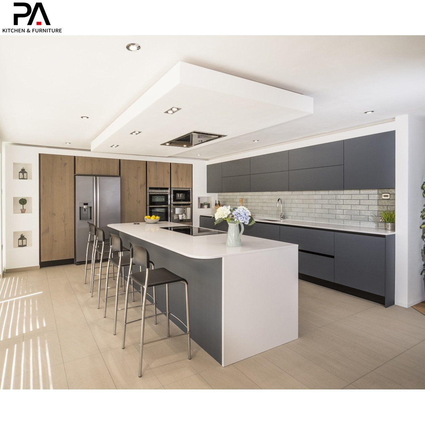 China Luxury Kitchen Grey Lacquer And Melamine Modern Kitchen Cabinets China Kitchen Cabinets Kitchen Furniture